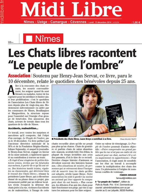 Chats Libres de Nîmes Agglo Midi Libre Peuple de l'ombre Editions du Puits de Roulle