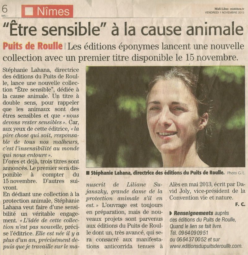Puits de Roulle Cause animale David Joly Liliane Sujanszky Anna Galore